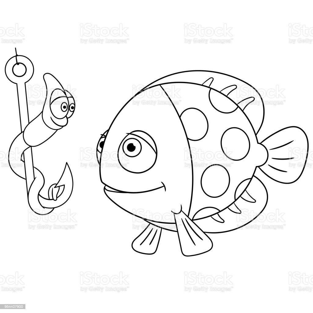 çizgi Film Balık Ve Solucan Boyama Sayfası Stok Vektör Sanatı