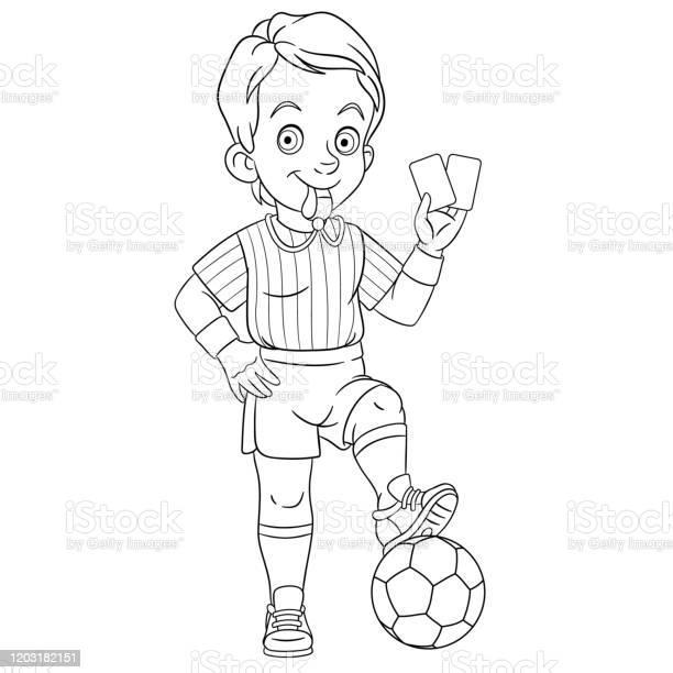 Page De Coloriage De Larbitre De Football De Dessin Anime Vecteurs Libres De Droits Et Plus D Images Vectorielles De Adulte Istock