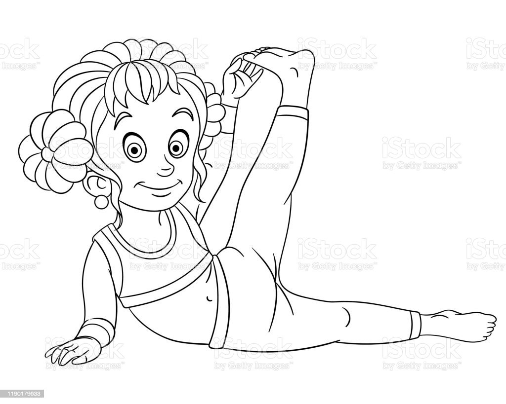 Coloring Page Of Cartoon Girl Practicing Yoga Stock Illustration Download Image Now Istock