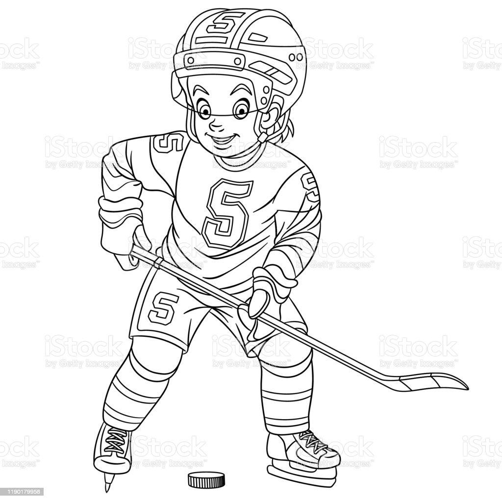 Kleurplaten Pagina Van Cartoon Hockey Speler Stockvectorkunst En Meer Beelden Van Kleurboek Istock