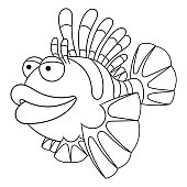 Coloring page of cartoon lionfish
