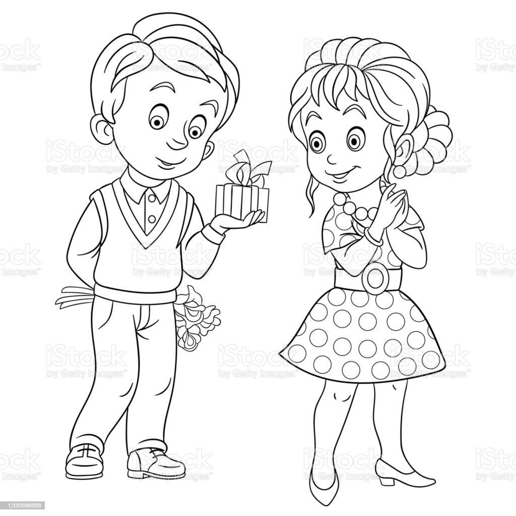 Ilustracion De Pagina Para Colorear De Dibujos Animados
