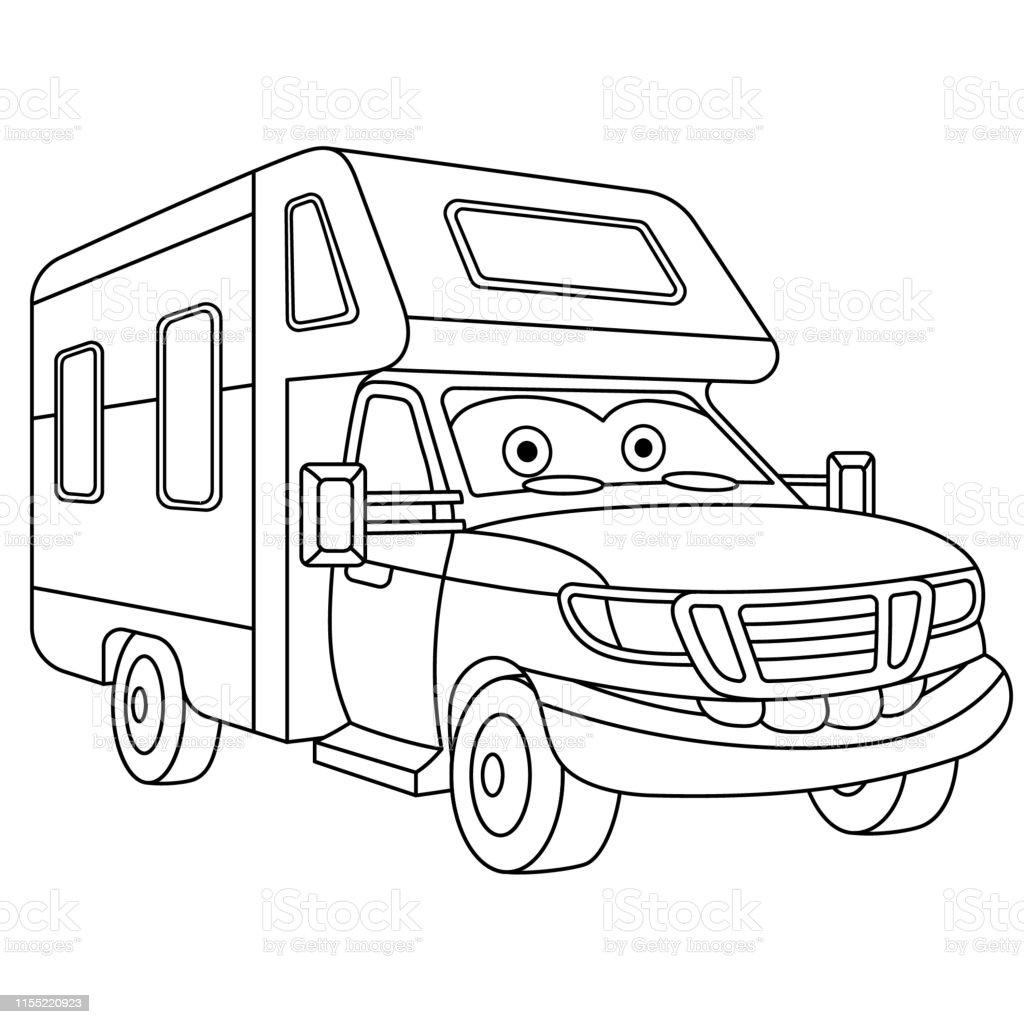 Karikatur Motor Ev Boyama Sayfasi Stok Vektor Sanati Animasyon
