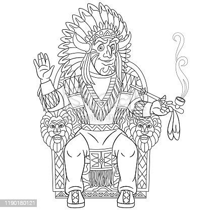 Coloring page of cartoon Native American Indian chief smoking a pipe of peace. Coloring book design for kids.