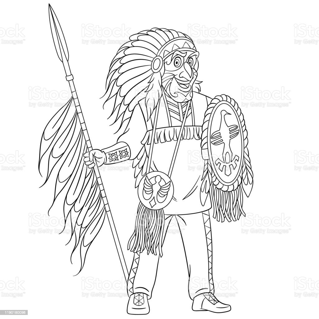 Coloring Page Of Cartoon Native American Indian Man Stock Illustration Download Image Now Istock