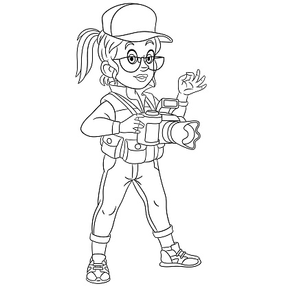 Coloring page of cartoon photographer woman