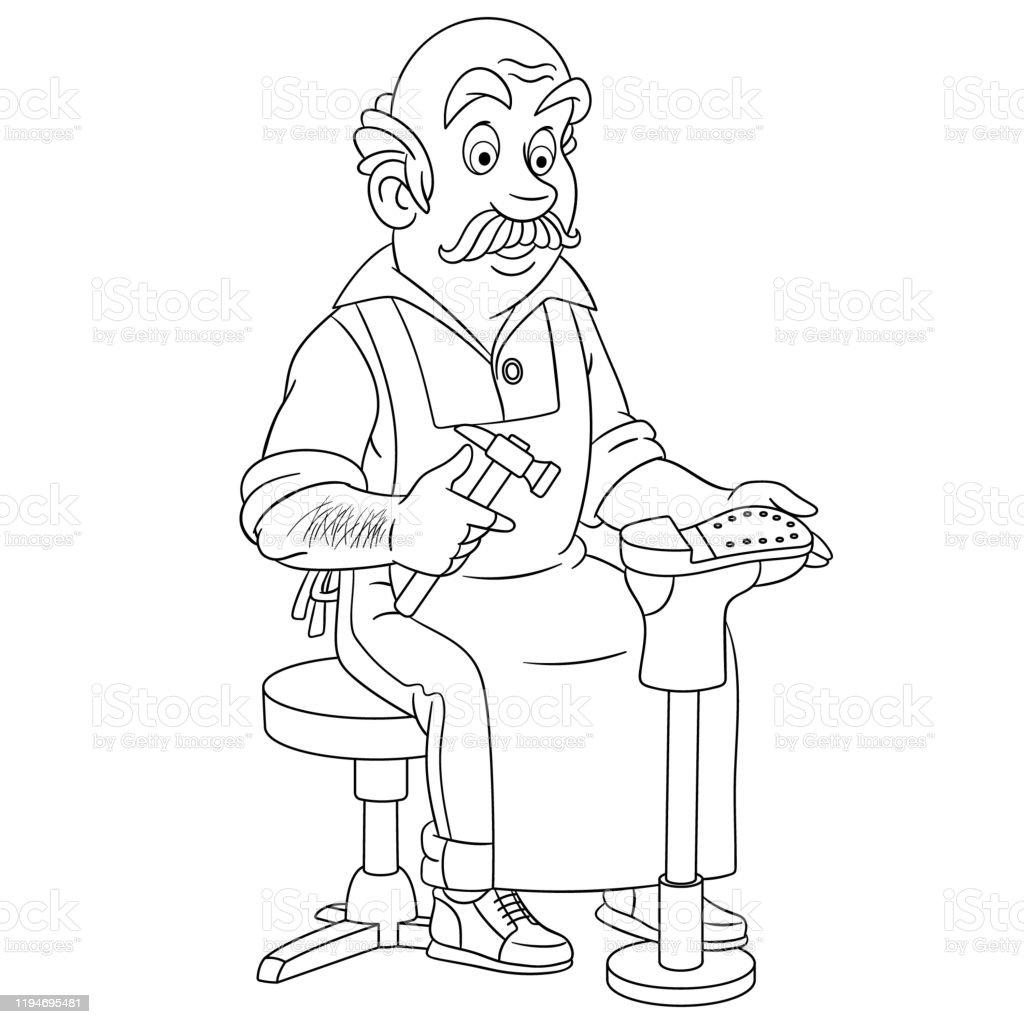 Karikatur Ayakkabici Veya Cobbler Boyama Sayfasi Stok Vektor