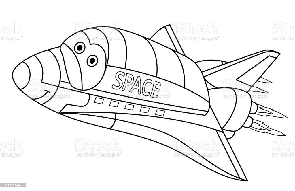 kleurplaat pagina van cartoon space shuttle