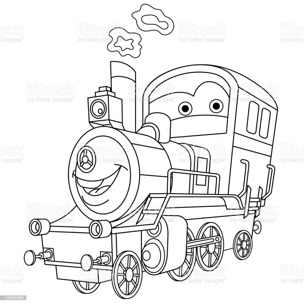 Coloring Page Of Cartoon Steam Train Locomotive Stock ...
