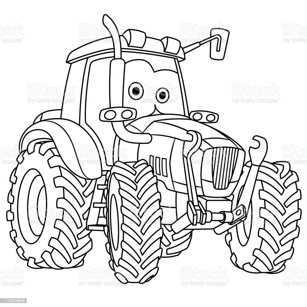 Coloriage De Tracteur De Dessin Anime Vecteurs Libres De Droits Et Plus D Images Vectorielles De Agriculteur Istock