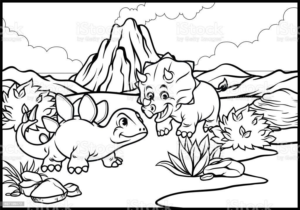 Ilustración de Página Para Colorear De Dibujos Animados Triceratops ...