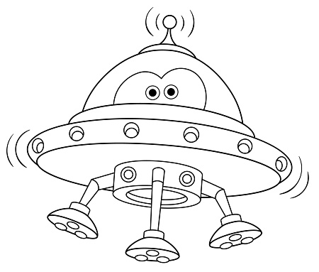 Coloring page of cartoon UFO alien space ship