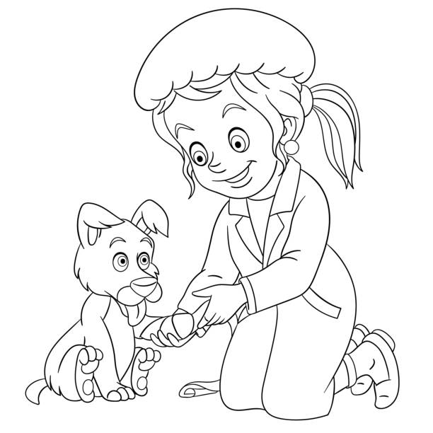 Coloring Nurse For Children Profession Illustration For