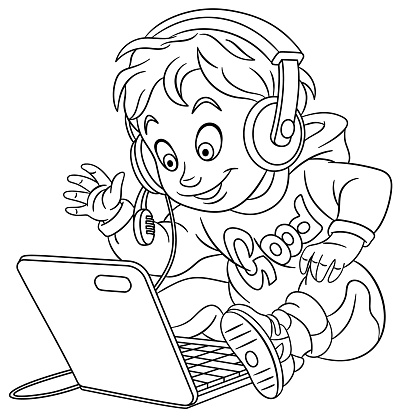Coloring page of cartoon young boy with laptop