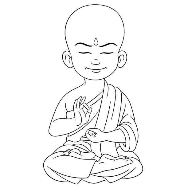 Best Cartoon Thai Monk Sitting Peacefully, In Meditation ...