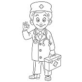 Coloring page of cartoon young doctor with first aid kit showing okay hand sign. Coloring book design for kids.