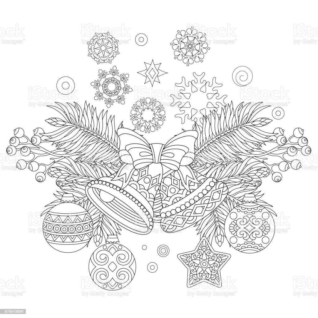 - Coloring Page Of Christmas Decorations Stock Illustration