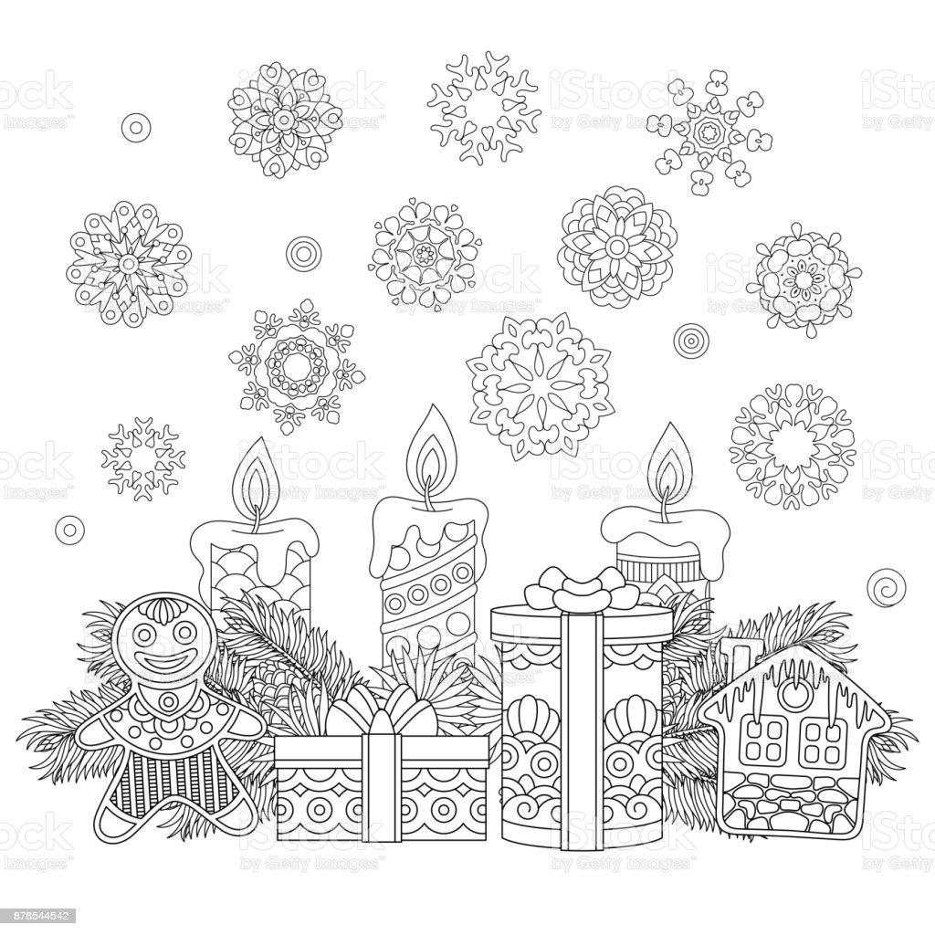 ilustración de página para colorear de regalos de navidad