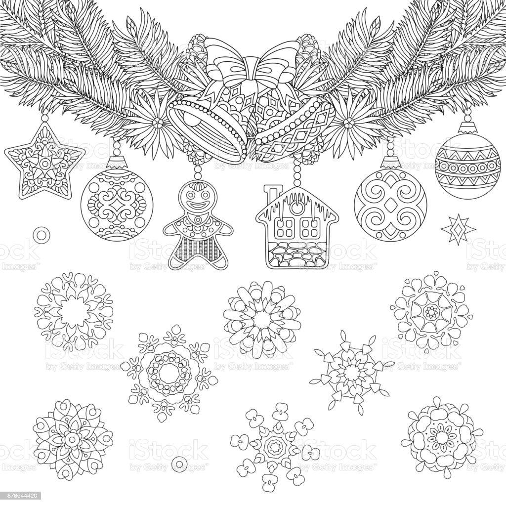 Malvorlagen Von Weihnachtsschmuck Stock Vektor Art Und Mehr
