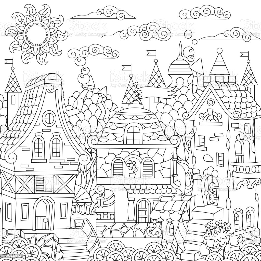 Coloring Page Of Fairy Tale Town Stock Vector Art More Images Of