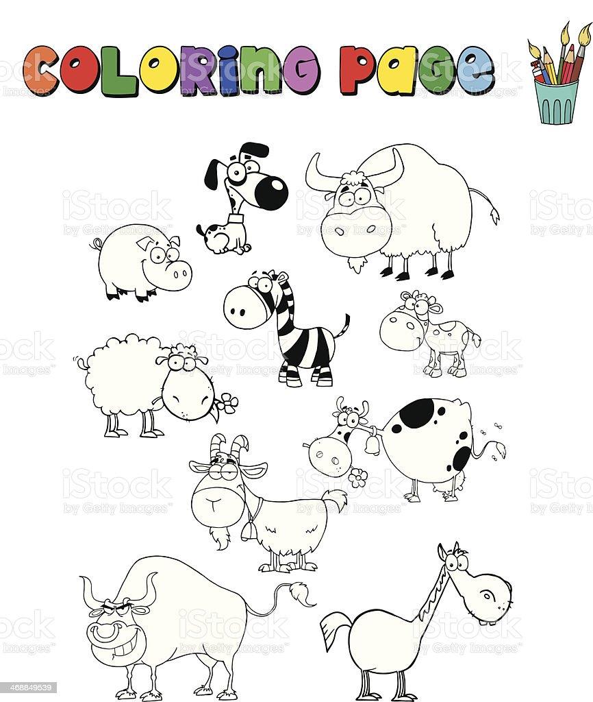 Ilustracion De Pagina Para Colorear De Granja Y Animales Salvajes