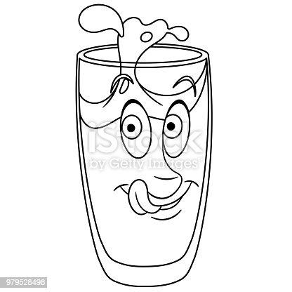 Su Cam Boyama Sayfası Stok Vektör Sanatı Animasyon Karakternin