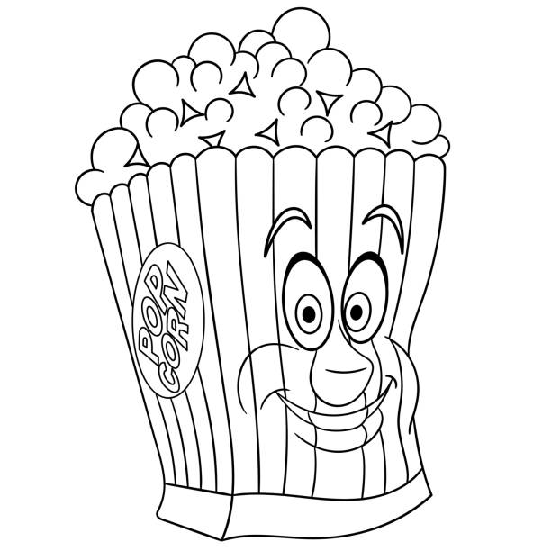 Happy Popcorn Bucket Illüstrasyonlar Ve Vektör Görselleri Istock