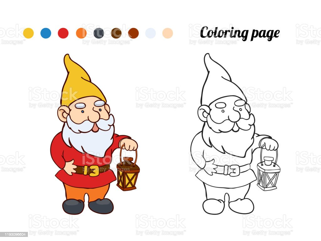 Coloring Page Or Book With Illustration Of Garden Gnome Stock Illustration Download Image Now Istock