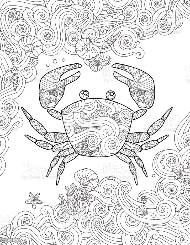 Coloring Page Ornate Crab And Sea Waves Vertical Composition Stock ...