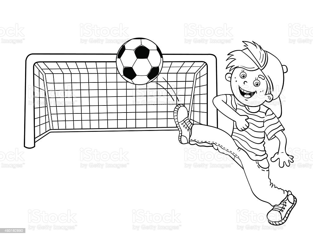 coloring page outline of a boy kicking a soccer ball royalty free coloring page outline