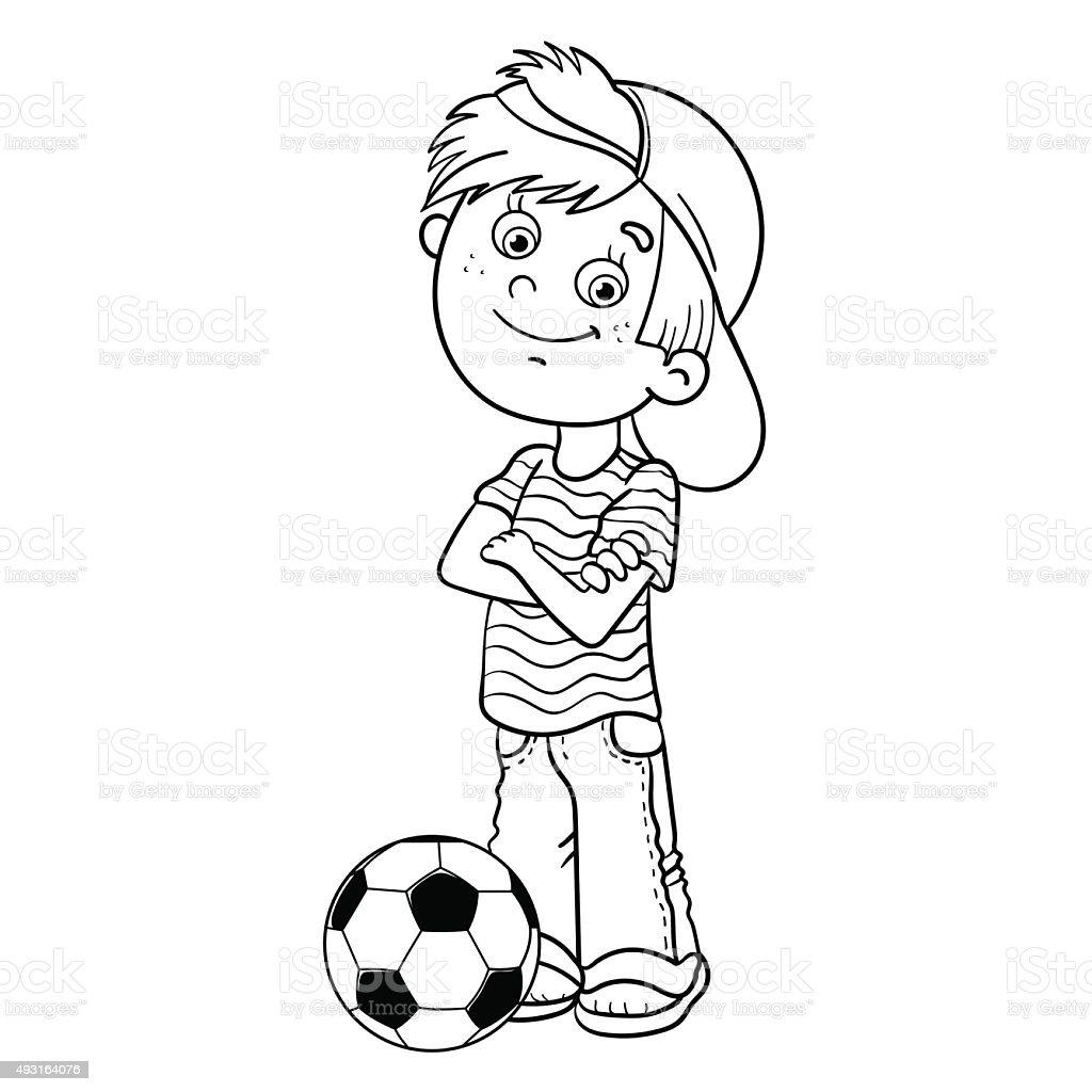 Pagina da colorare sagoma di un ragazzo con un pallone da - Pagina da colorare di un pallone da calcio ...