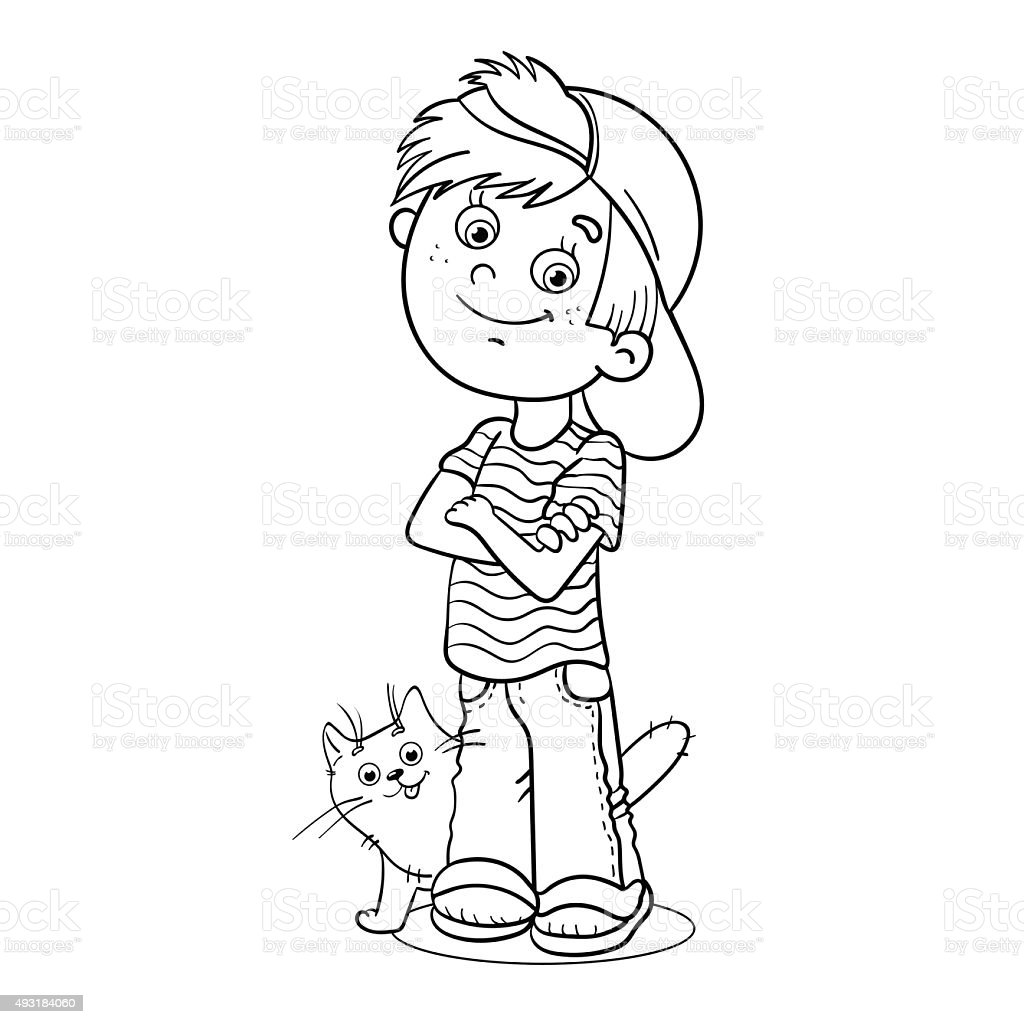 coloring page outline of a boy with his cat stock vector art