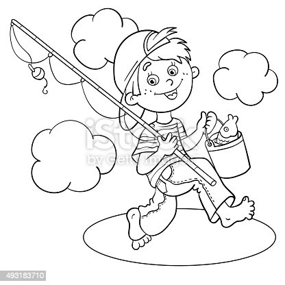 Coloring Page Outline Of A Cartoon Boy fisherman