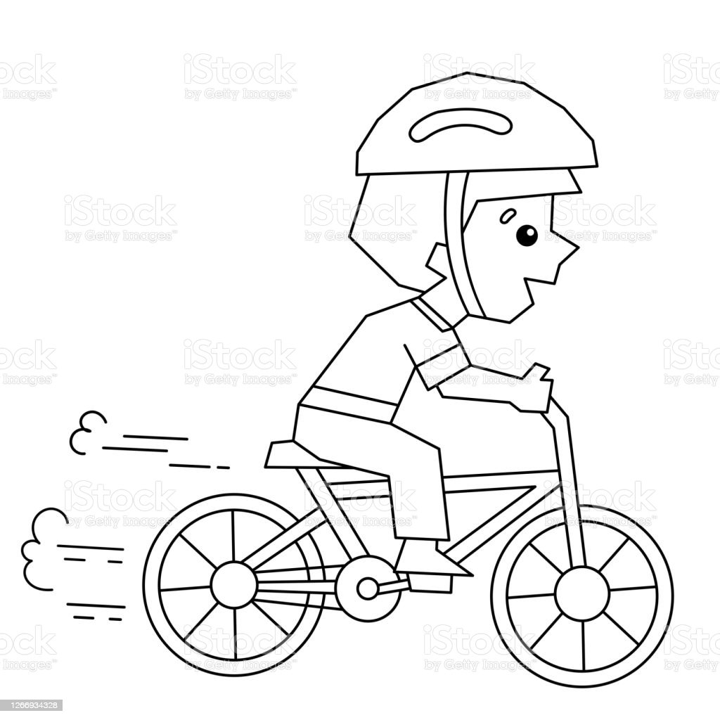 Coloring Page Outline Of A Cartoon Boy On A Bicycle Or Bike