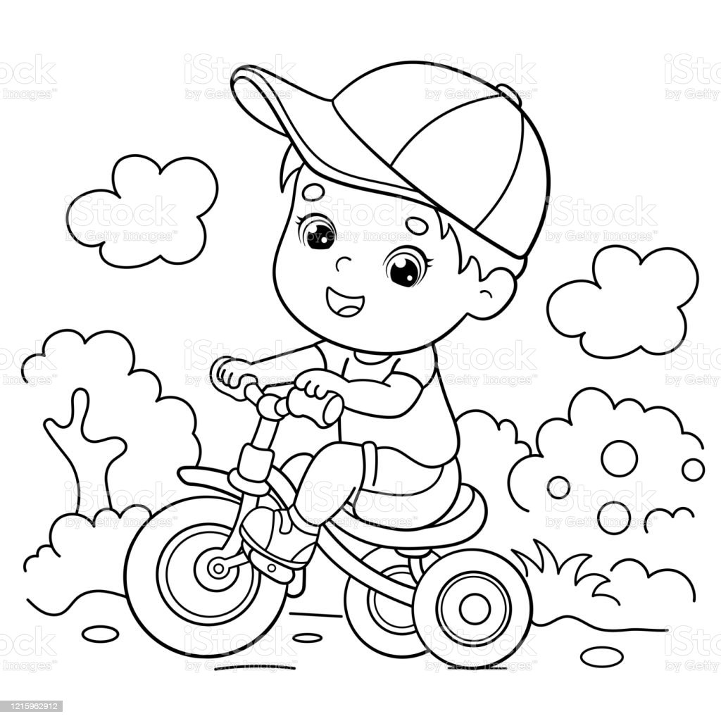 Coloring Page Outline Of A Cartoon Boy Riding A Bicycle Or Bike