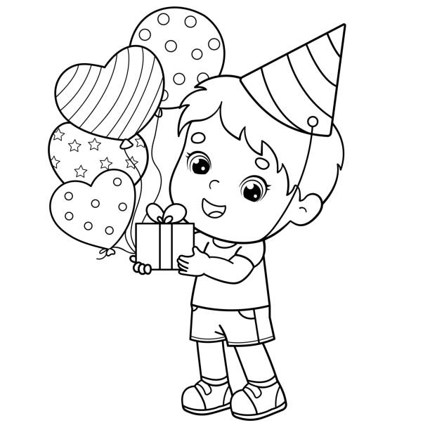 Coloring Page Outline Of a cartoon boy with gift and balloons. Birthday. Coloring book for kids Coloring Page Outline Of a cartoon boy with gift and balloons. Birthday. Coloring book for kids cartoon of birthday cake outline stock illustrations