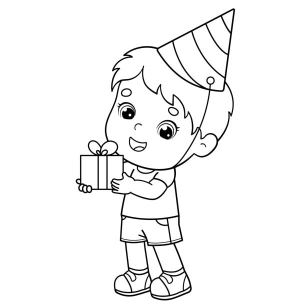 Coloring Page Outline Of a cartoon boy with gift at the holiday. Birthday. Coloring book for kids Coloring Page Outline Of a cartoon boy with gift at the holiday. Birthday. Coloring book for kids cartoon of birthday cake outline stock illustrations