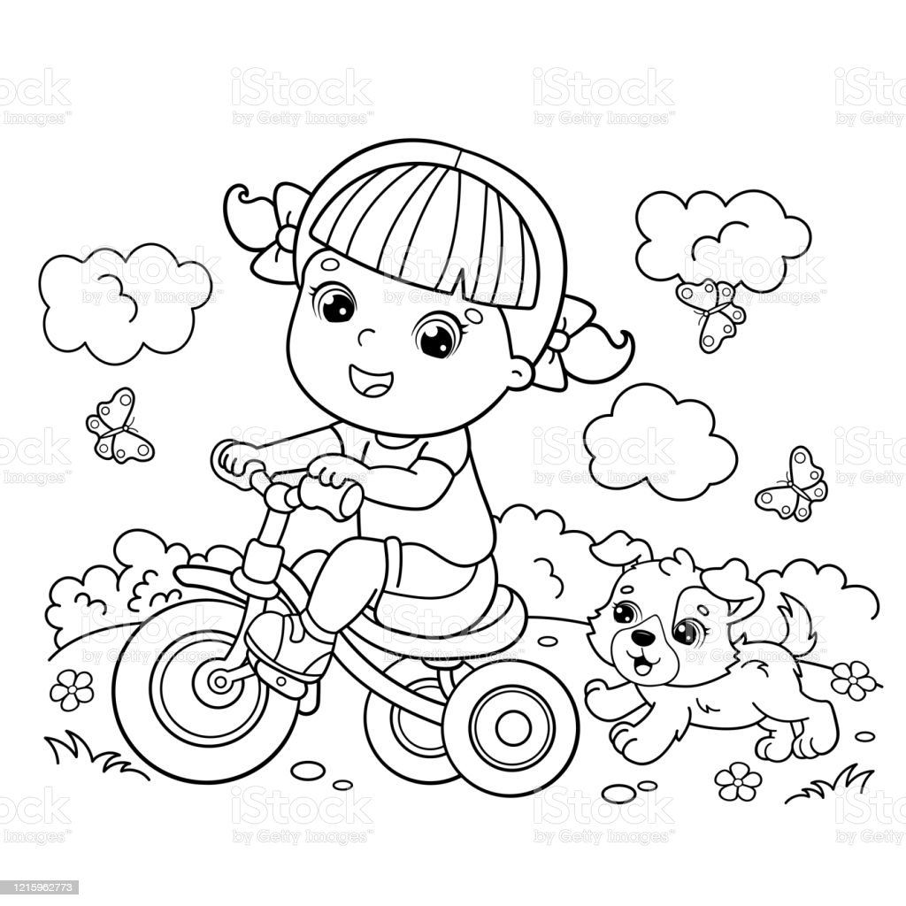 Coloring Page Outline Of A Cartoon Girl Riding A Bicycle Or Bike With A Dog Coloring Book For Kids Stock Illustration Download Image Now Istock