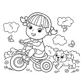 Coloring Page Outline Of a cartoon girl riding a Bicycle or bike with a dog. Coloring book for kids
