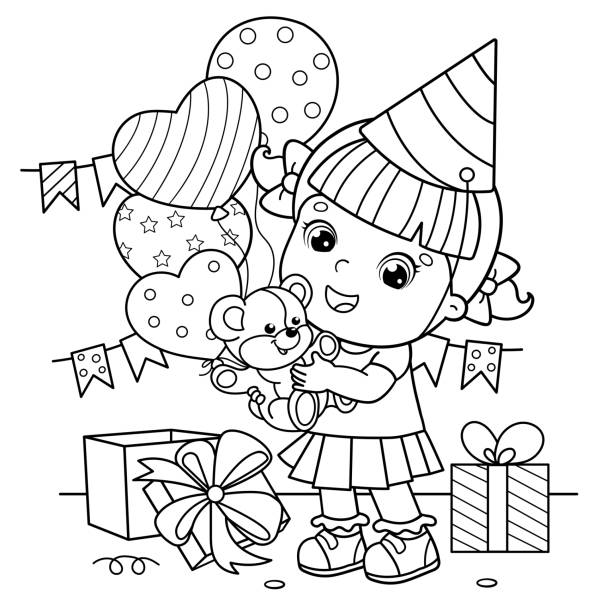 Coloring Page Outline Of a cartoon girl with a balloons and with with a teddy bear at the holiday. Birthday. Coloring book for kids Coloring Page Outline Of a cartoon girl with a balloons and with with a teddy bear at the holiday. Birthday. Coloring book for kids cartoon of birthday cake outline stock illustrations
