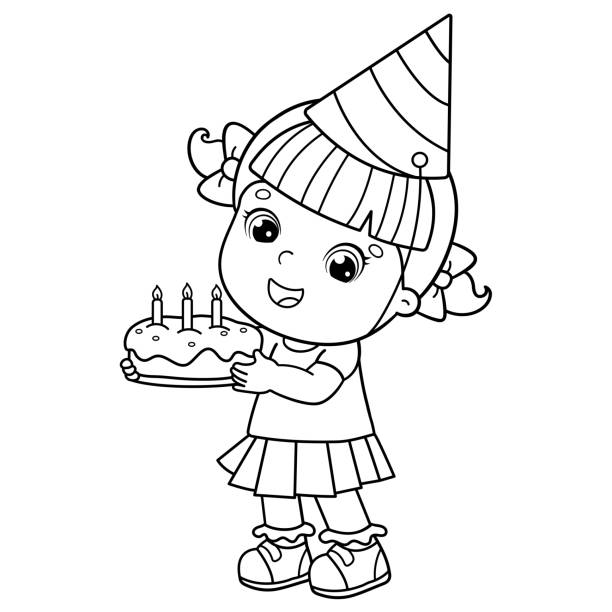 Coloring Page Outline Of a cartoon girl with a cake at the holiday. Birthday. Coloring book for kids Coloring Page Outline Of a cartoon girl with a cake at the holiday. Birthday. Coloring book for kids cartoon of birthday cake outline stock illustrations