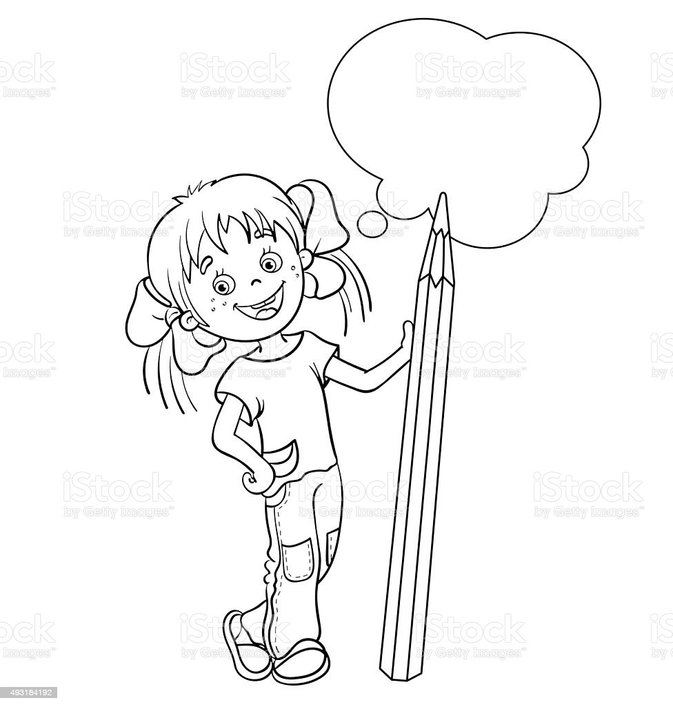 Pagina da colorare sagoma di fumetto ragazza con una - Pagina da colorare di una bibbia ...