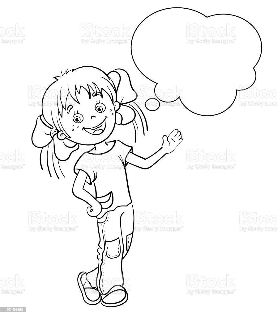 Pagina Da Colorare Sagoma Di Un Fumetto Ragazza Con Discorso