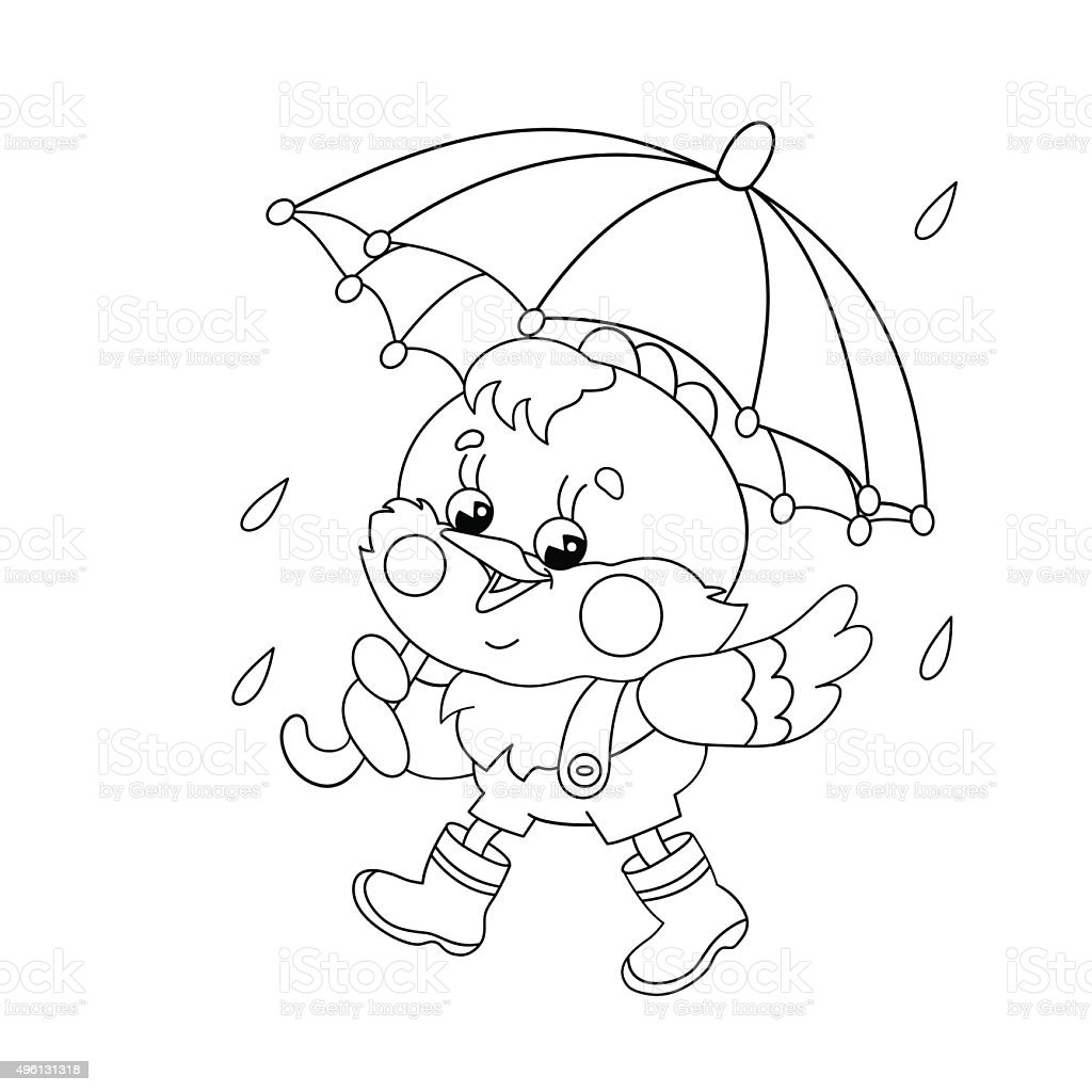 Coloring Page Outline Of A Chicken Walking In The Rain Royalty Free Stock Vector Art
