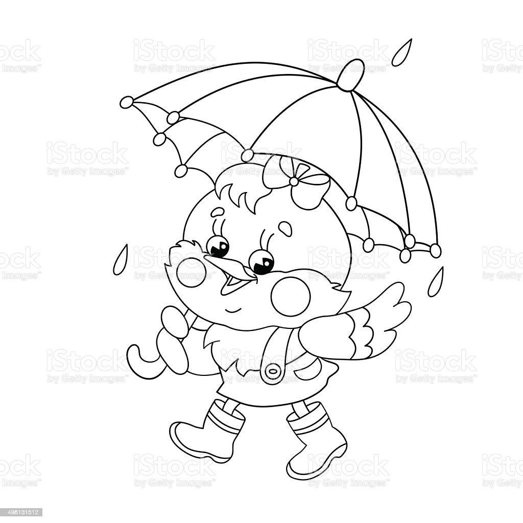Ilustración de Para Colorear Página Descripción De Pollo Caminando ...