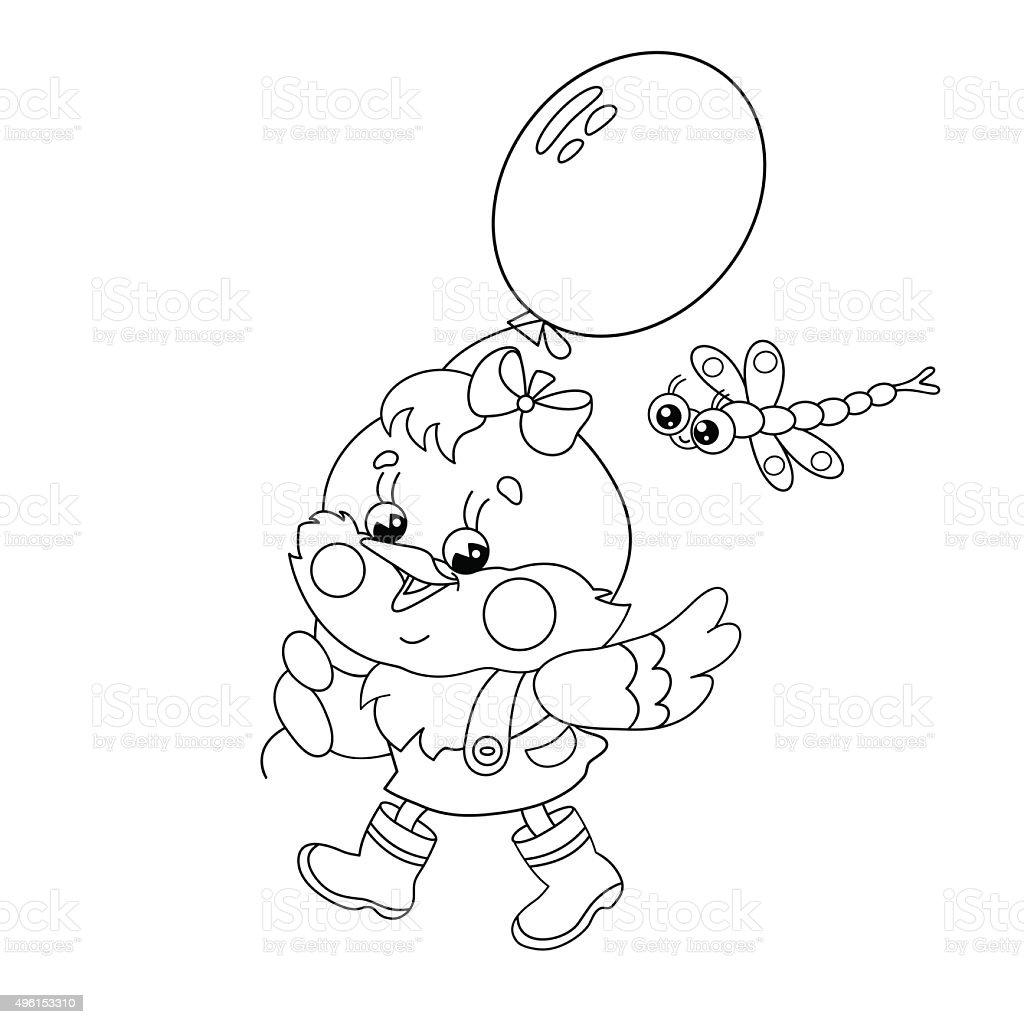 Pagina da colorare sagoma di pollo a piedi con una mongolfiera pagina da  colorare sagoma di d5c538164e20