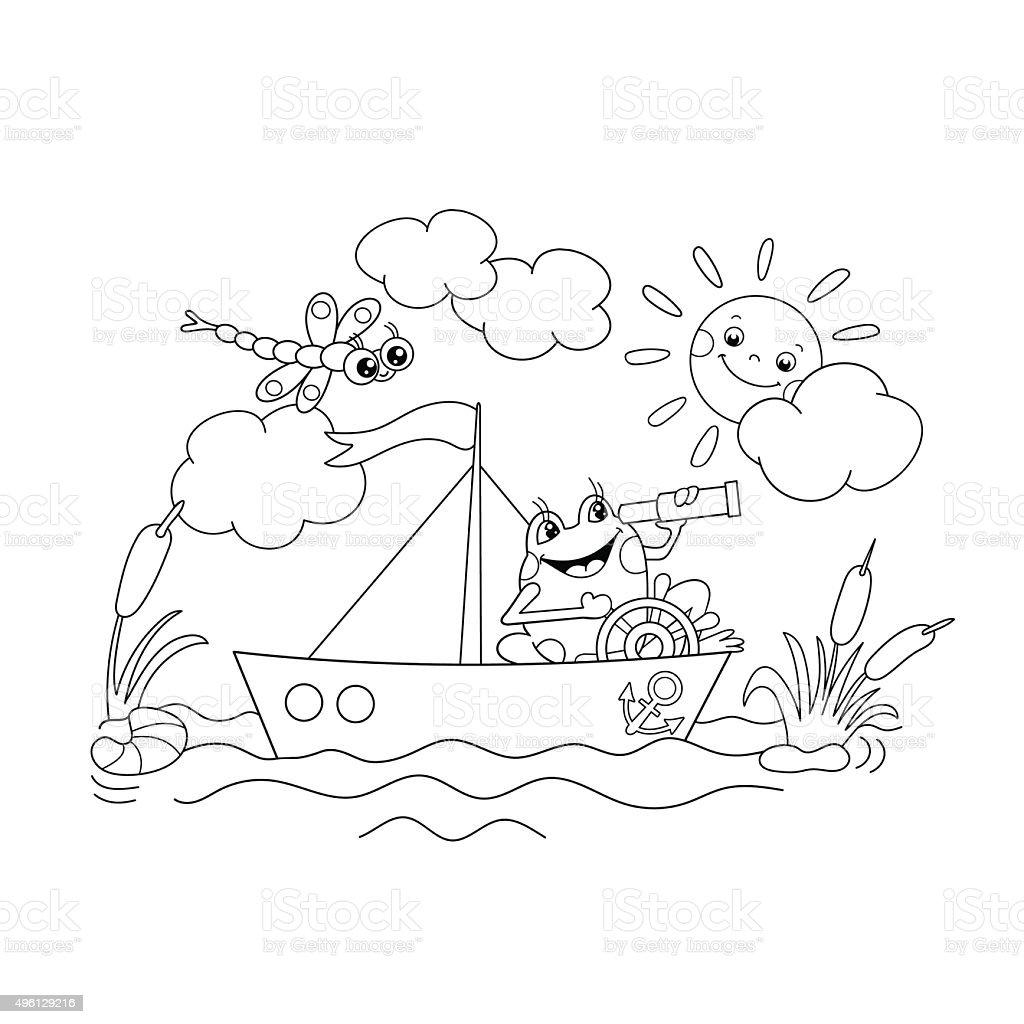 Ilustración de Para Colorear Página Descripción De La Rana Flotando ...