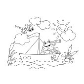 Coloring Page Outline Of a frog floating on a boat