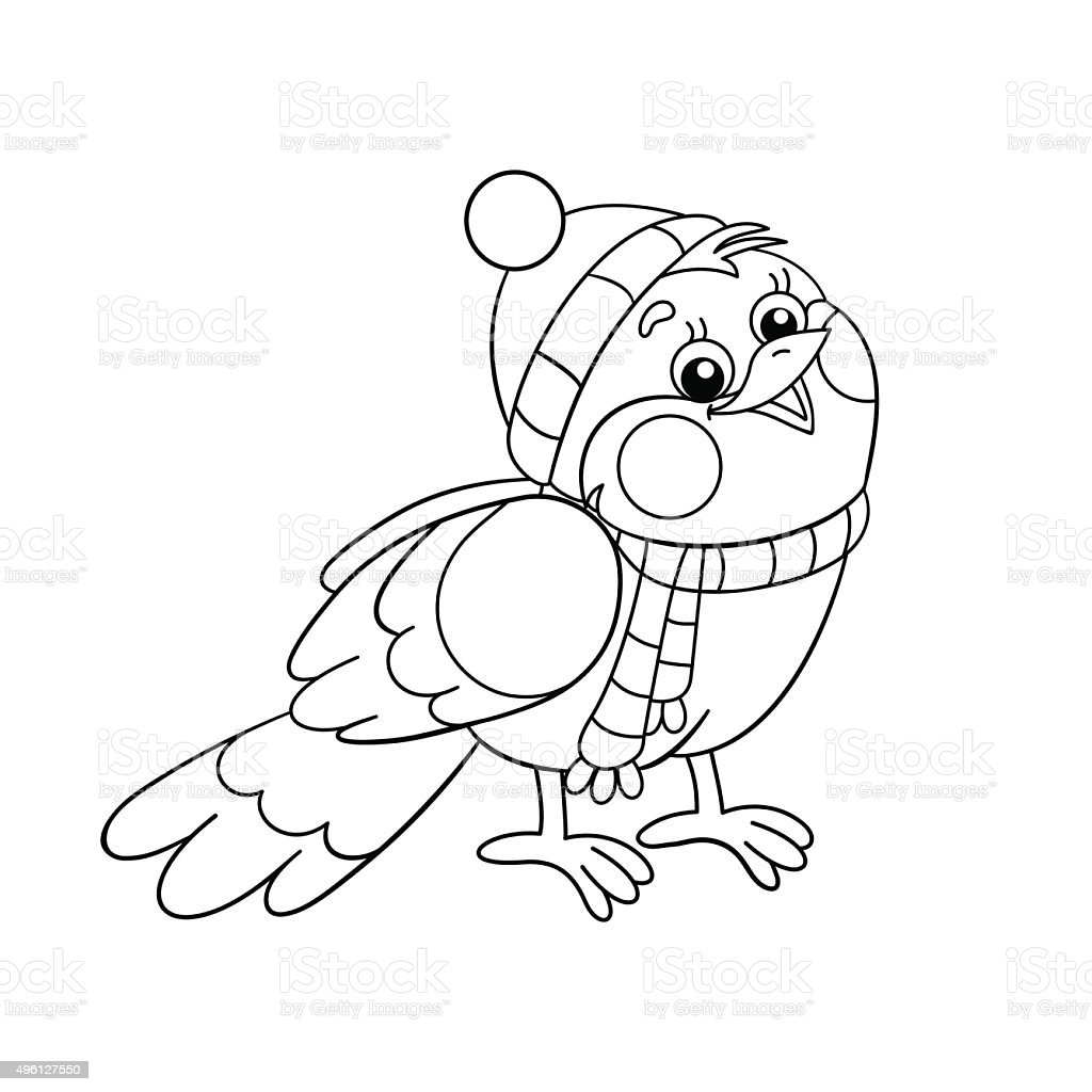 Coloring Page Outline Of A Funny Bird In Winter Stock Vector Art Id496127550