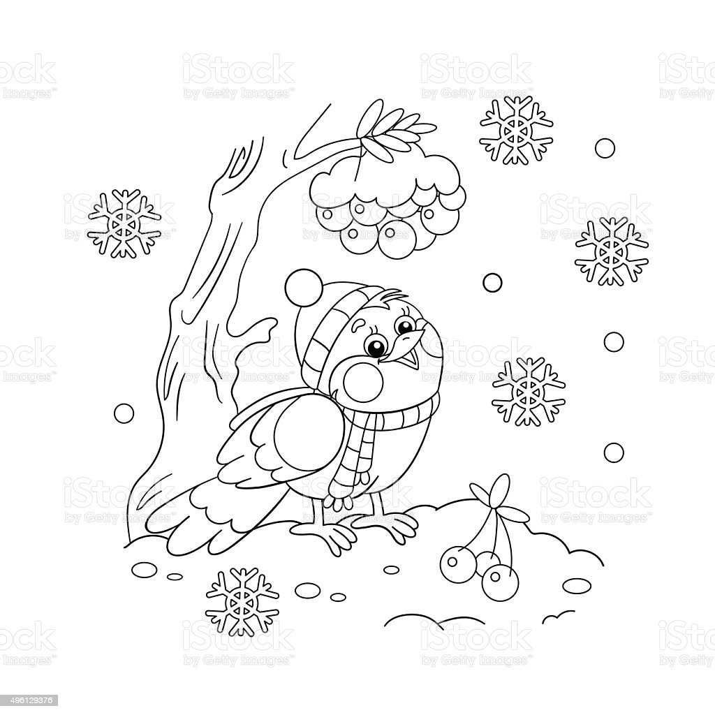 Coloring Page Outline Of A Funny Bird In Winter Royalty Free